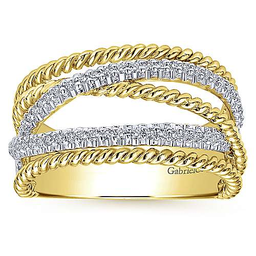 14k Yellow/white Gold Hampton Wide Band Ladies