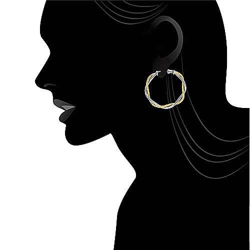 14k Yellow/white Gold Hoops Classic Hoop Earrings angle 4