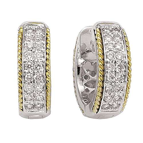 Gabriel - 14k Yellow/white Gold Huggies Huggie Earrings