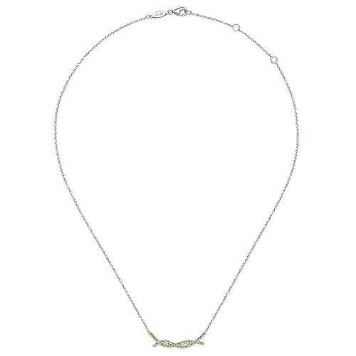 14k Yellow/white Gold Indulgence Bar Necklace angle 2