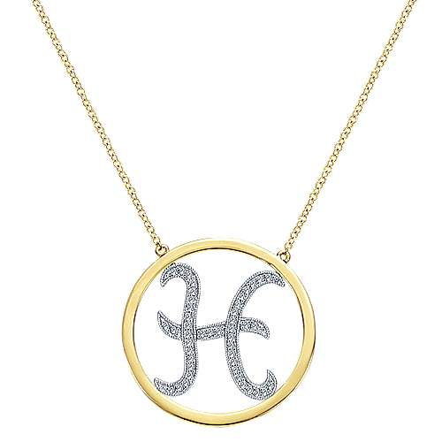 Gabriel - 14k Yellow/white Gold Initial Necklace