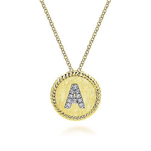 14k Yellow/white Gold Initial Necklace angle 1