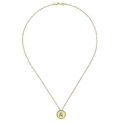14k Yellow/white Gold Initial Necklace angle 2