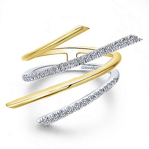 Gabriel - 14k Yellow/white Gold Lusso Diamond Fashion Ladies' Ring