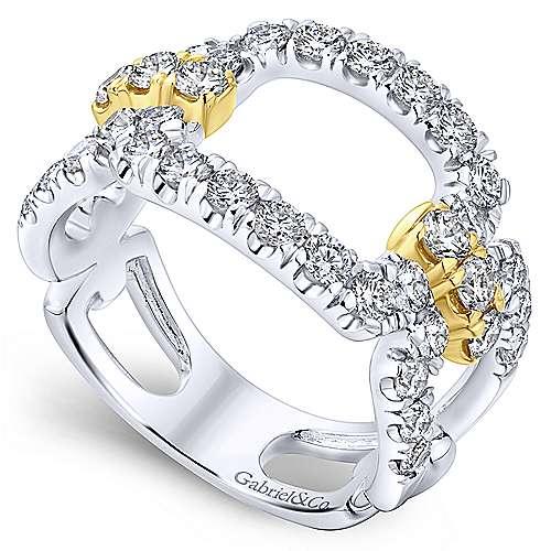 14k Yellow/white Gold Lusso Diamond Wide Band Ladies