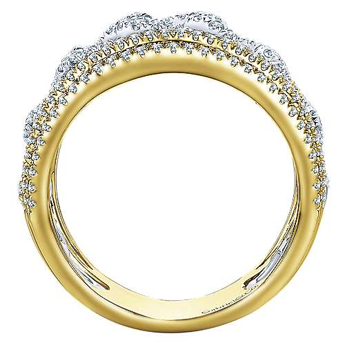 14k Yellow/white Gold Lusso Diamond Wide Band Ladies