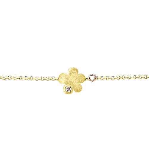 14k Yellow/white Gold Pink Sapphire Chain Bracelet angle 2