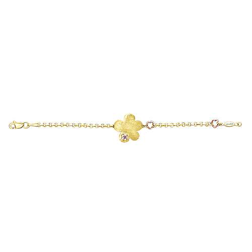 14k Yellow/white Gold Pink Sapphire Chain Bracelet angle 3