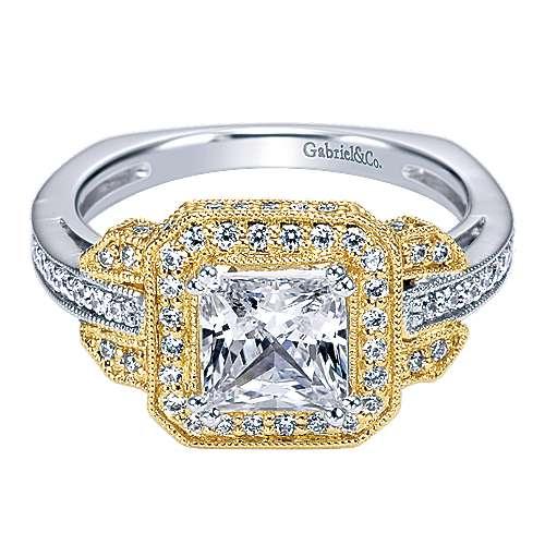 Gabriel - 14k Yellow/white Gold Princess Cut Halo Engagement Ring