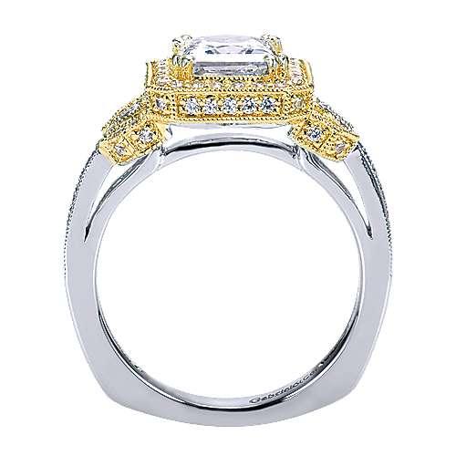 14k Yellow/white Gold Princess Cut Halo Engagement Ring angle 2
