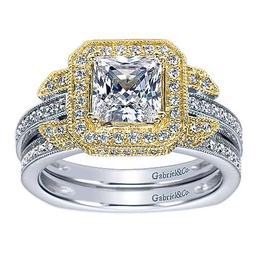 14k Yellow/white Gold Princess Cut Halo Engagement Ring angle 4
