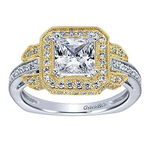 14k Yellow/white Gold Princess Cut Halo Engagement Ring angle 5