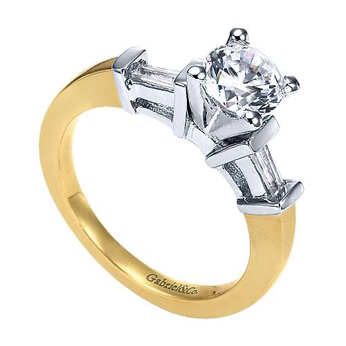 14k Yellow/white Gold Round 3 Stones Engagement Ring angle 3
