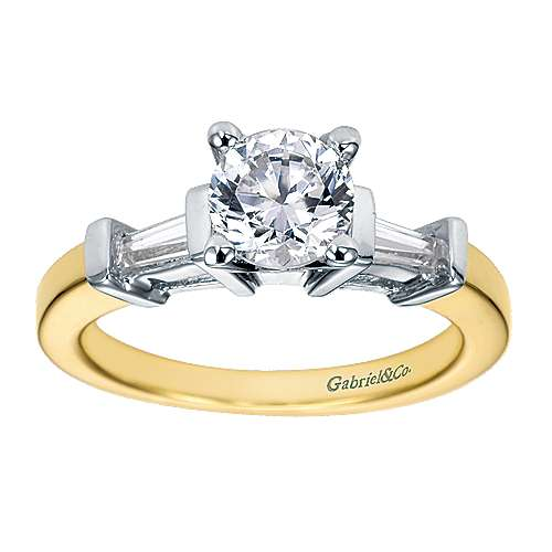 14k Yellow/white Gold Round 3 Stones Engagement Ring angle 5