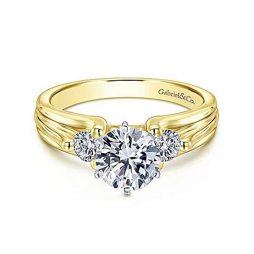 Gabriel - 14k Yellow/white Gold Round 3 Stones Engagement Ring