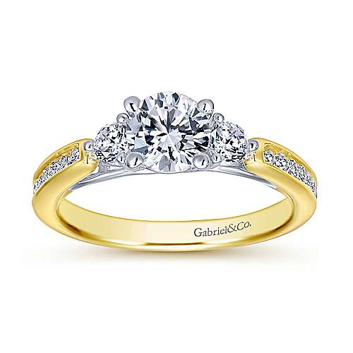 14k Yellow/white Gold Round 3 Stones Engagement Ring angle 5
