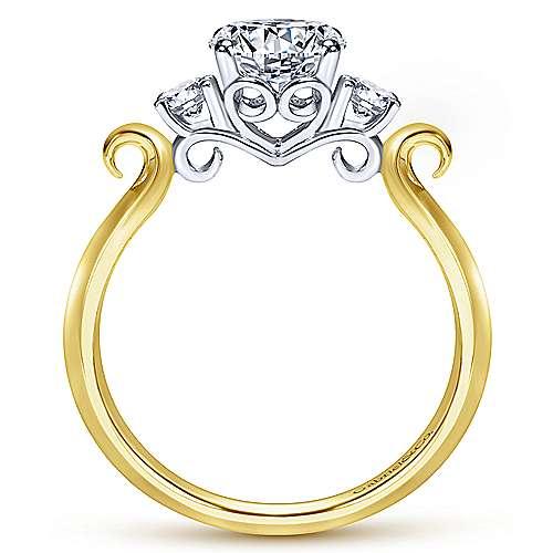 14k Yellow/white Gold Round 3 Stones Engagement Ring angle 2