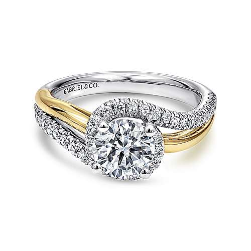 14k Yellow/white Gold Round Bypass Engagement Ring angle 1
