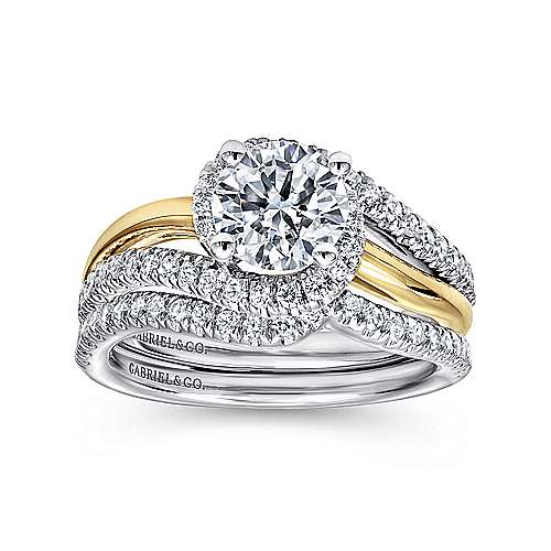 14k Yellow/white Gold Round Bypass Engagement Ring angle 4