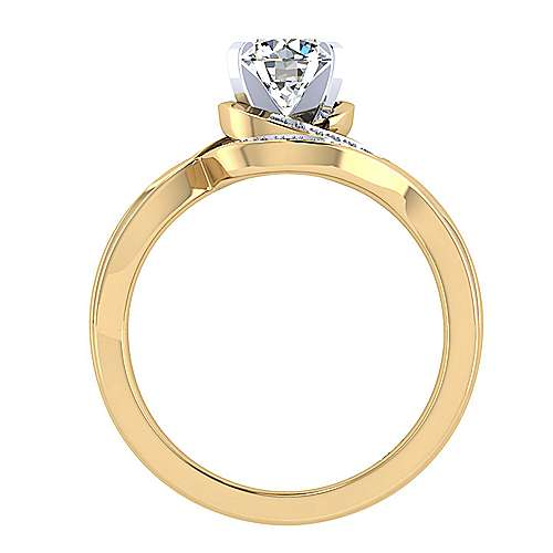 14k Yellow/white Gold Round Bypass Engagement Ring angle 2