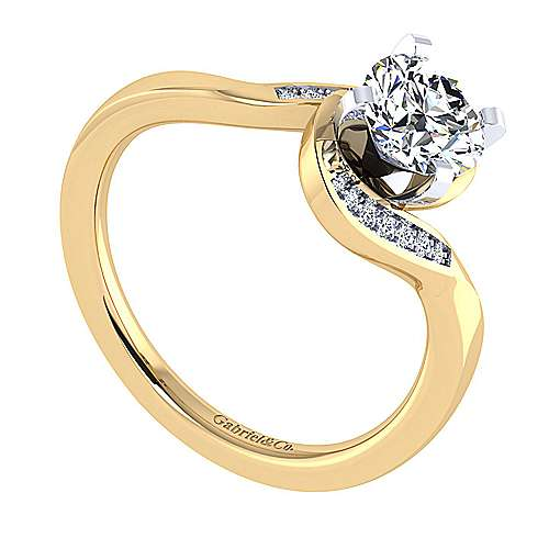14k Yellow/white Gold Round Bypass Engagement Ring angle 3
