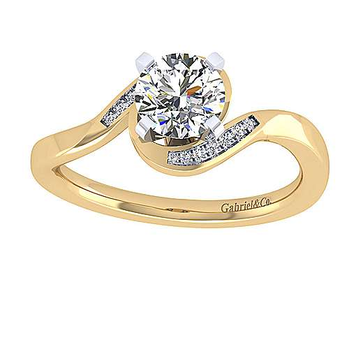 14k Yellow/white Gold Round Bypass Engagement Ring angle 5