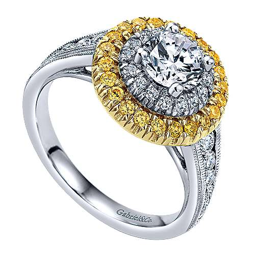 14k Yellow/white Gold Round Double Halo Engagement Ring angle 3