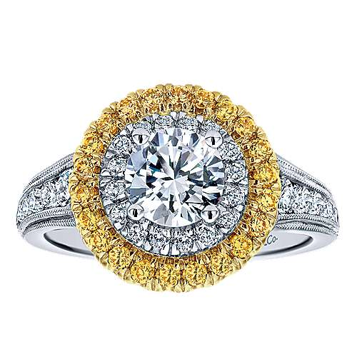 14k Yellow/white Gold Round Double Halo Engagement Ring angle 5
