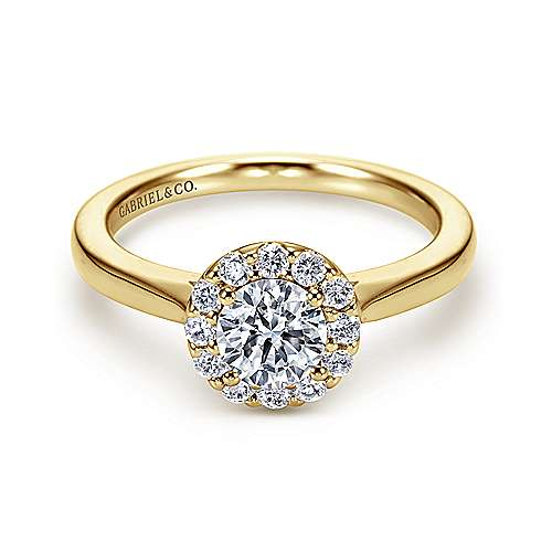 Gabriel - 14k Yellow/white Gold Round Halo Engagement Ring