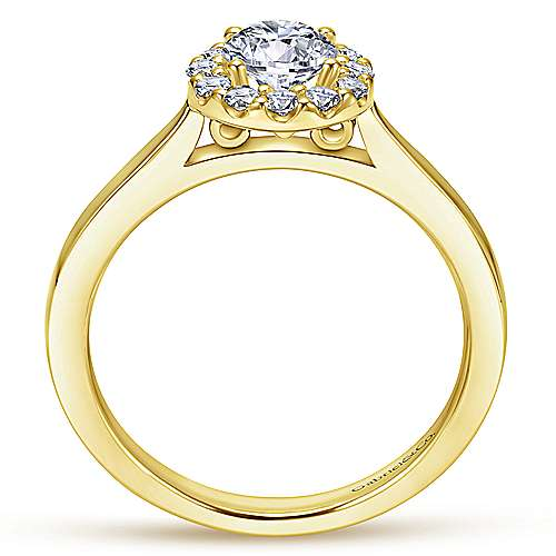 14k Yellow/white Gold Round Halo Engagement Ring angle 2