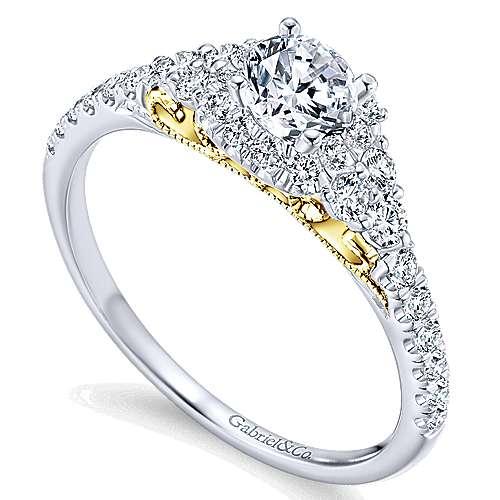 14k Yellow/white Gold Round Halo Engagement Ring angle 3