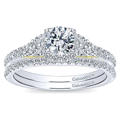 14k Yellow/white Gold Round Halo Engagement Ring angle 4