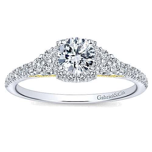 14k Yellow/white Gold Round Halo Engagement Ring angle 5
