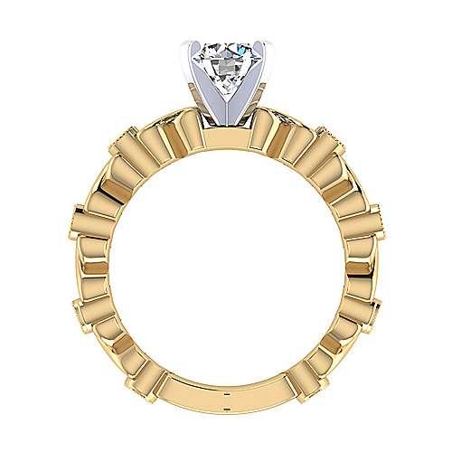 14k Yellow/white Gold Round Straight Engagement Ring angle 2