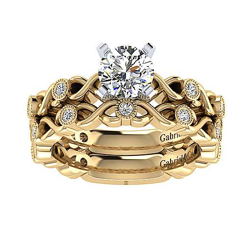 14k Yellow/white Gold Round Straight Engagement Ring angle 4