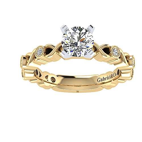14k Yellow/white Gold Round Straight Engagement Ring angle 5
