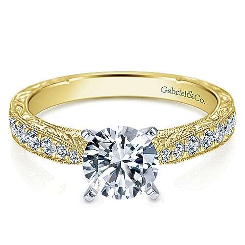 Gabriel - 14k Yellow/white Gold Round Straight Engagement Ring
