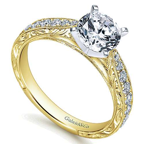 14k Yellow/white Gold Round Straight Engagement Ring angle 3