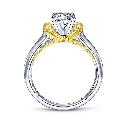 14k Yellow/white Gold Round Straight Engagement Ring angle 2