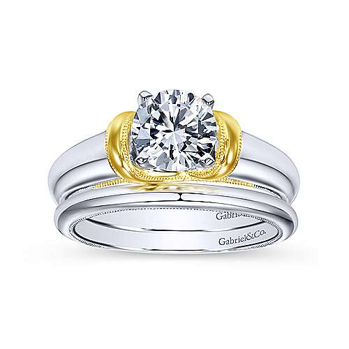 14k Yellow/white Gold Round Straight Engagement Ring angle 4