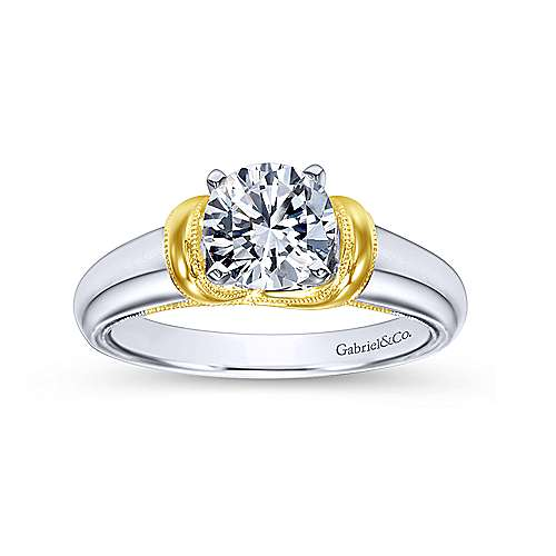 14k Yellow/white Gold Round Straight Engagement Ring angle 5