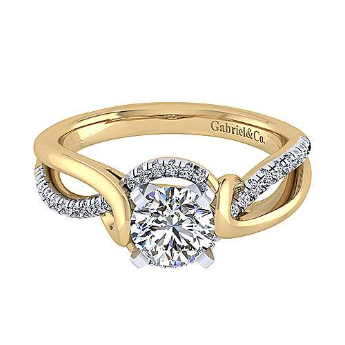 Gabriel - 14k Yellow/white Gold Round Twisted Engagement Ring