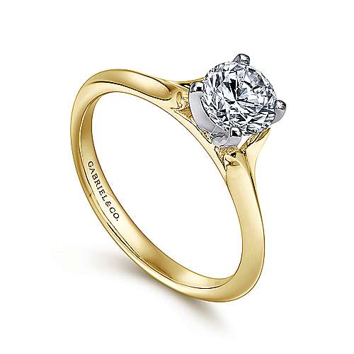 14k Yellow/white Gold Solitaire Engagement Ring angle 3
