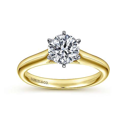 14k Yellow/white Gold Solitaire Engagement Ring angle 5