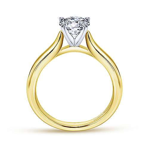 14k Yellow/white Gold Solitaire Engagement Ring angle 2