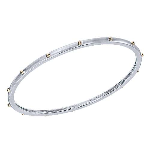 14k Yellow/white Gold Stackable Bangle angle 2