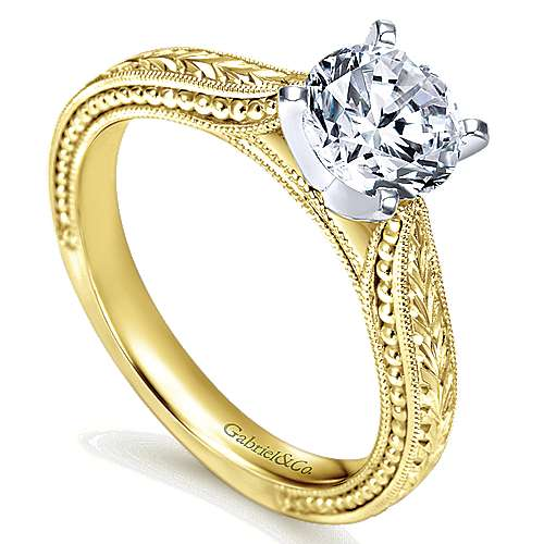14k Yellow/white Gold Straight Engagement Ring angle 3