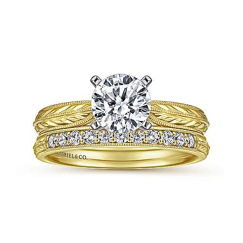 14k Yellow/white Gold Straight Engagement Ring angle 4