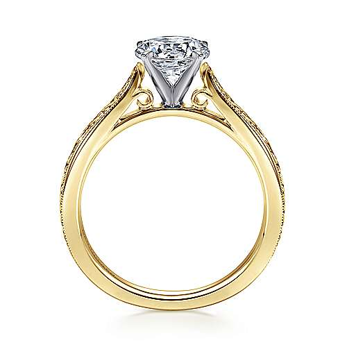 14k Yellow/white Gold Straight Engagement Ring angle 2