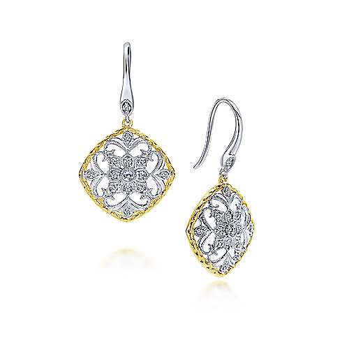 Gabriel - 14k Yellow/white Gold Victorian Drop Earrings